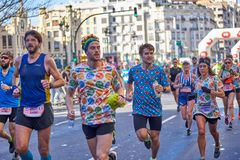 VALENCIA, SPAIN - DECEMBER 02: Runners compete in the XXXVIII Valencia Marathon on December 18, 2018 in Valencia, Spain.  stock photo