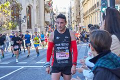 VALENCIA, SPAIN - DECEMBER 02: Runners compete in the XXXVIII Valencia Marathon on December 18, 2018 in Valencia, Spain.  royalty free stock photos