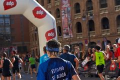 VALENCIA, SPAIN - DECEMBER 02: Runners compete in the XXXVIII Valencia Marathon on December 18, 2018 in Valencia, Spain.  stock photography