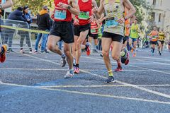 VALENCIA, SPAIN - DECEMBER 02: Runners compete in the XXXVIII Valencia Marathon on December 18, 2018 in Valencia, Spain.  royalty free stock image