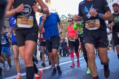 VALENCIA, SPAIN - DECEMBER 02: Runners compete in the XXXVIII Valencia Marathon on December 18, 2018 in Valencia, Spain.  stock image