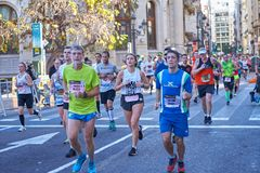 VALENCIA, SPAIN - DECEMBER 02: Runners compete in the XXXVIII Valencia Marathon on December 18, 2018 in Valencia, Spain.  stock images
