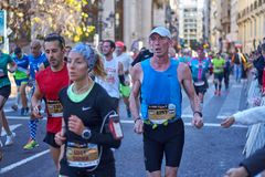 VALENCIA, SPAIN - DECEMBER 02: Runners compete in the XXXVIII Valencia Marathon on December 18, 2018 in Valencia, Spain.  stock photos