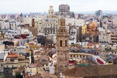 Valencia, Spain, Europe - panoramic view of the city with bell tower and buildings Royalty Free Stock Images