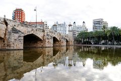 Valencia, Spain, Europe - Turia park garden and Pont del Mar sea bridge scenic view royalty free stock photography