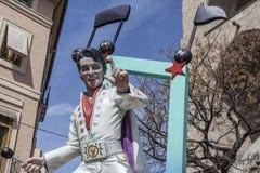 Valencia,Spain. Fallas, Falles, traditional and famous celebration, Elvis ninot, puppet, Valencia, Spain Royalty Free Stock Photography