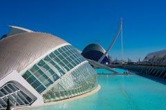 City of Arts and Sciences. Architects Santiago Calatrava and Felix Candela. Valencia, Spain. February 6, 2019. Hemisferic building, bridge and The Agora. City of stock image
