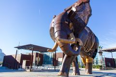 VALENCIA, SPAIN - JANUARY 19, 2019: Big sculpture of an elephant, made with wood and iron, at the main entrance of Bioparc zoo in. Valencia, Spain stock photography
