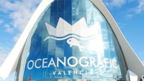 VALENCIA, SPAIN - January 10, 2018. The building of the oceanographic complex in Valencia, Spain. VALENCIA, SPAIN - January 10, 2018. The front building of the stock footage