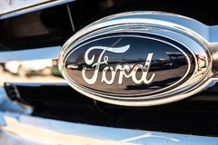 Valencia, Spain - January 13, 2019: Logo of the car manufacturer Ford in a parked vehicle royalty free stock image