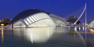 Hemispheric building with reflections at night in Valencia Royalty Free Stock Image