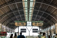 The passengers platform and display - screen time table of the Estacion del Nord, Valencia train station in Spain. Valencia, Spain - July 5th, 2018: The stock image