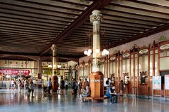 The passengers waiting hall and ticket counters at the Valencia Train station - Estacion del Nord, Spain. Valencia, Spain - July 5th, 2018: The passengers royalty free stock photos