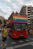Valencia, Spain - June 16, 2018: A bus with a rainbow flag of political party Ciudadanos, during the gay pride day parade royalty free stock photo