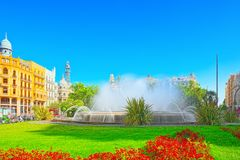 Fountain on Modernism Plaza of the City Hall of Valencia, Town h. Valencia, Spain - June 13, 2017 : Fountain on Modernism Plaza of the City Hall of Valencia royalty free stock photography