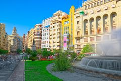 Fountain on Modernism Plaza of the City Hall of Valencia, Town h. Valencia, Spain - June 13, 2017 : Fountain on Modernism Plaza of the City Hall of Valencia stock photography