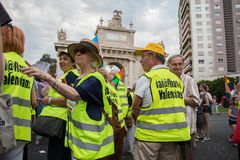 Valencia, Spain - June 16, 2018:  A group of older people called `iao flautas` parade on gay pride day showing their support for t stock images