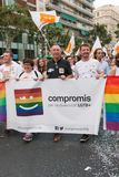 Valencia, Spain - June 16, 2018: Joan Valdoví and part of his political group Compromís with a banner on Gay Pride Day in Valenc royalty free stock photos