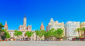 Modernism Plaza of the City Hall of Valencia, Town hall Square. Valencia, Spain - June 13, 2017 : Modernism Plaza of the City Hall of Valencia, Town hall Square royalty free stock photos