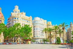 Modernism Plaza of the City Hall of Valencia, Town hall Square. Valencia, Spain - June 13, 2017 : Modernism Plaza of the City Hall of Valencia, Town hall Square royalty free stock photo
