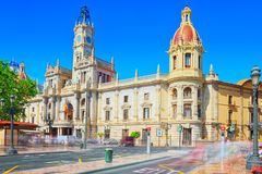 Modernism Plaza of the City Hall of Valencia, Town hall Square. Valencia, Spain - June 13, 2017 : Modernism Plaza of the City Hall of Valencia, Town hall Square stock images