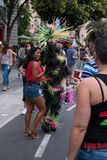Valencia, Spain - June 16, 2018:  a person with a costume takes photos with people on gay pride day royalty free stock photo