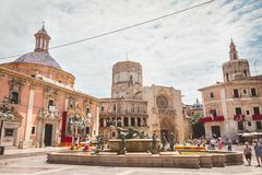 Street atmosphere on the square of the virgin Royalty Free Stock Images