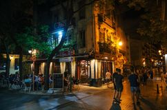 Nightlife with cafe and bars in Valencia, Spain royalty free stock photo