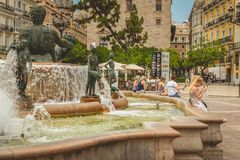 Fountain of Turia, Square of the Virgin in Vanlencia Spain Royalty Free Stock Photo