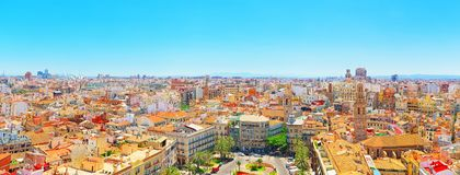 View above on square, Plaza of the Queen  Placa de la Reina in Royalty Free Stock Images