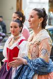 Traditional Costumes During Las Fallas stock image
