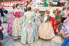 Traditional Costumes During Las Fallas stock photo