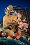 Falla at Night. VALENCIA, SPAIN - MARCH 18: The Fallas is a traditional celebration in which hundreds of papier mache sculptures are eventually burnt on Saint Royalty Free Stock Image