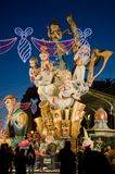 Falla at Night. VALENCIA, SPAIN - MARCH 18: The Fallas is a traditional celebration in which hundreds of papier mache sculptures are eventually burnt on Saint Stock Image