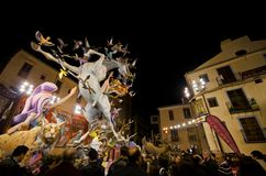 Falla at Night. VALENCIA, SPAIN - MARCH 18: The Fallas is a traditional celebration in which hundreds of papier mache sculptures are eventually burnt on Saint Stock Photo
