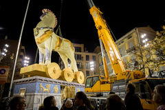 Valencia in Fallas. VALENCIA, SPAIN - MARCH 10: People observe many workers assembling Na Jordana falla for Las Fallas (the fires in Valencian) exhibition on Stock Photo
