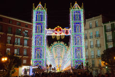 Valencia in Fallas, lightning Royalty Free Stock Photography