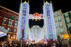 Valencia in Fallas, lightning Stock Photography