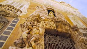 Valencia Spain Museum of Ceramics Facade. Valencia Spain 25 December 2016: Museum of Ceramics Facade stock footage