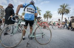 VALENCIA, SPAIN - NOVEMBER, 2015: Unidentified people prepares for classic bicycle route in Valencia Stock Image