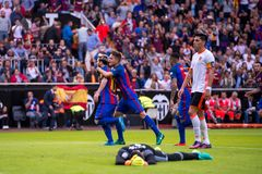 Barcelona players celebrate a goal at the La Liga match between Valencia CF and FC Barcelona at Mestalla royalty free stock images