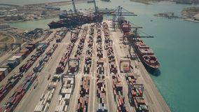 VALENCIA, SPAIN - OCTOBER 2, 2018. Aerial view of big port container terminal. VALENCIA, SPAIN - OCTOBER 2, 2018. Aerial shot of big port container terminal stock photography