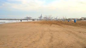 Valencia Spain 11 October, 2018: People on La Malvarrosa beach Valencia Spain stock video