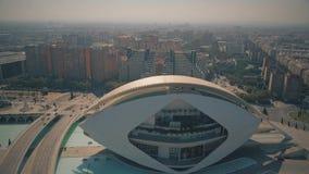 Valencia, Spain - September 22, 2018. Aerial shot of the cityscape and El Palau de les Arts Reina Sofia