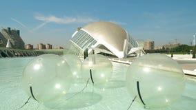 Valencia, Spain - September 22, 2018. Balls for zorbing. City of Arts and Sciences, a major Spanish landmark