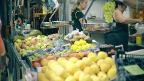 VALENCIA, SPAIN - SEPTEMBER 22, 2018. Fruit at stall of famous Mercado Central or Central Market. VALENCIA, SPAIN - SEPTEMBER 22, 2018 Fruit at stall of famous royalty free stock image