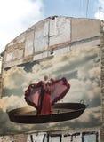 Valencia Spain som bygger med vägg- målning Arkivbilder