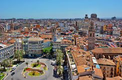 Valencia Spain. View from on top of the Cathedral in Valencia Reina Square, Spain royalty free stock photo
