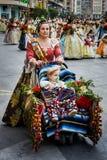 Valencia Spanien, den Fallas festivalen Arkivbild