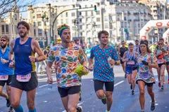 VALENCIA, SPANIEN - 2. DEZEMBER: Läufer konkurrieren in dem XXXVIII Valencia Marathon am 18. Dezember 2018 in Valencia, Spanien stockfoto